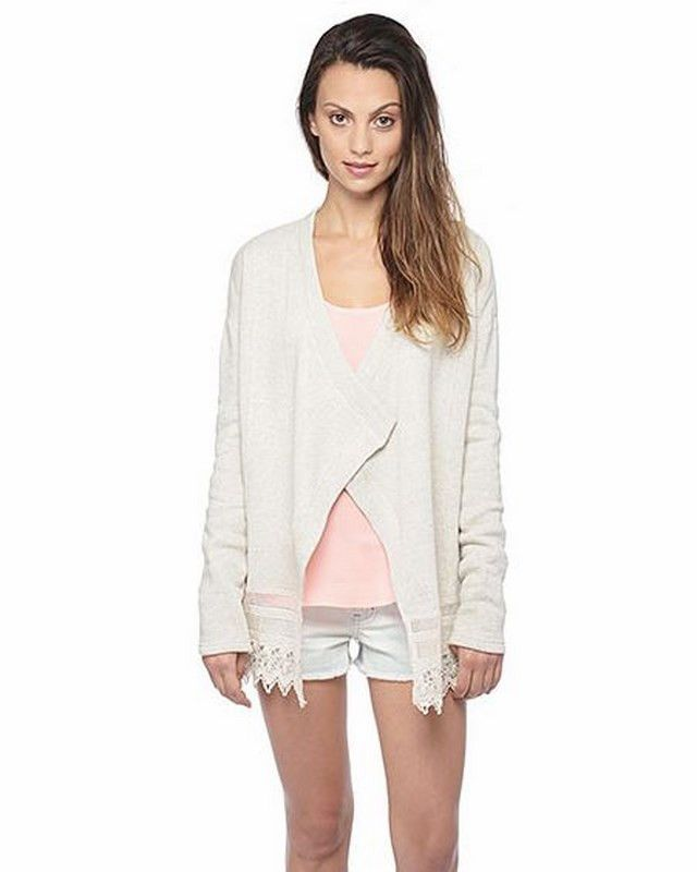 Bellamy Crochet Detail Cardigan   27 Boutique  The Bellamy is a super cozy light french terry cardigan with delicate crochet trim and a draped open front. Looks great paired with your fave distressed boyfriend jeans and strappy sandals.