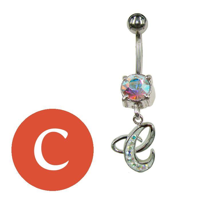 letter C belly ring / piercing ombelico lettera C