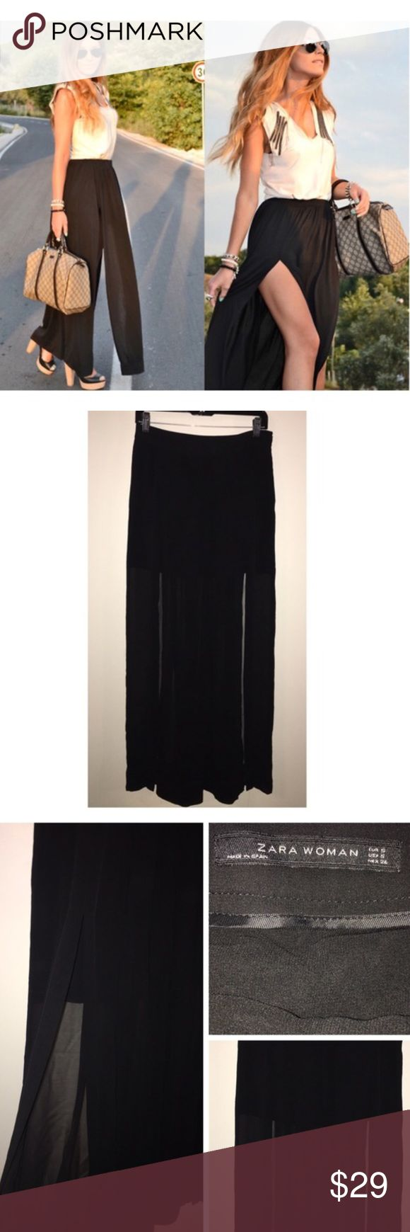 Zara black double slit M slit maxi skirt small In great condition. Side zipper. Sheer panels with 2 front slits. From Zara, size small. Zara Skirts Maxi