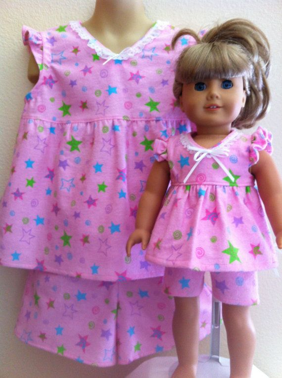 Custom Matching Pajama Set for Child and American Girl or Bitty Baby Doll