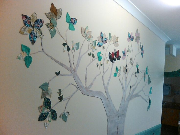Classroom display using recycled paper and material,family tree