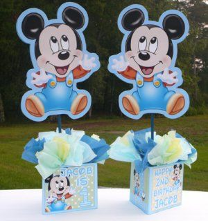 Baby Mickey Mouse Birthday Party Centerpiece, blue, baby shower,