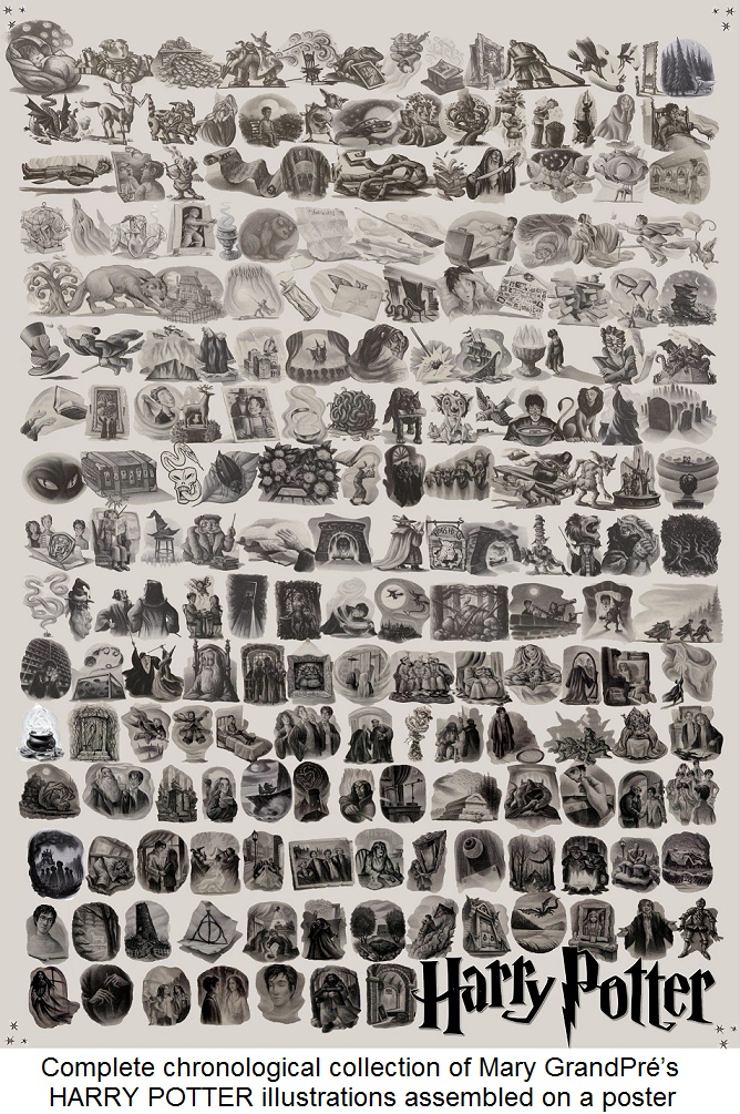 """Complete chronological collection of Mary GrandPré's HARRY POTTER chapter illustrations which tell the whole saga. Assembled onto a WALL POSTER by """"ajcfood."""" Link to full size poster image ...  And YOU thought YOU were a fan - pfb :-) http://www.huffingtonpost.com/2012/07/30/harry-potter-chapter-art-_n_1719553.html"""
