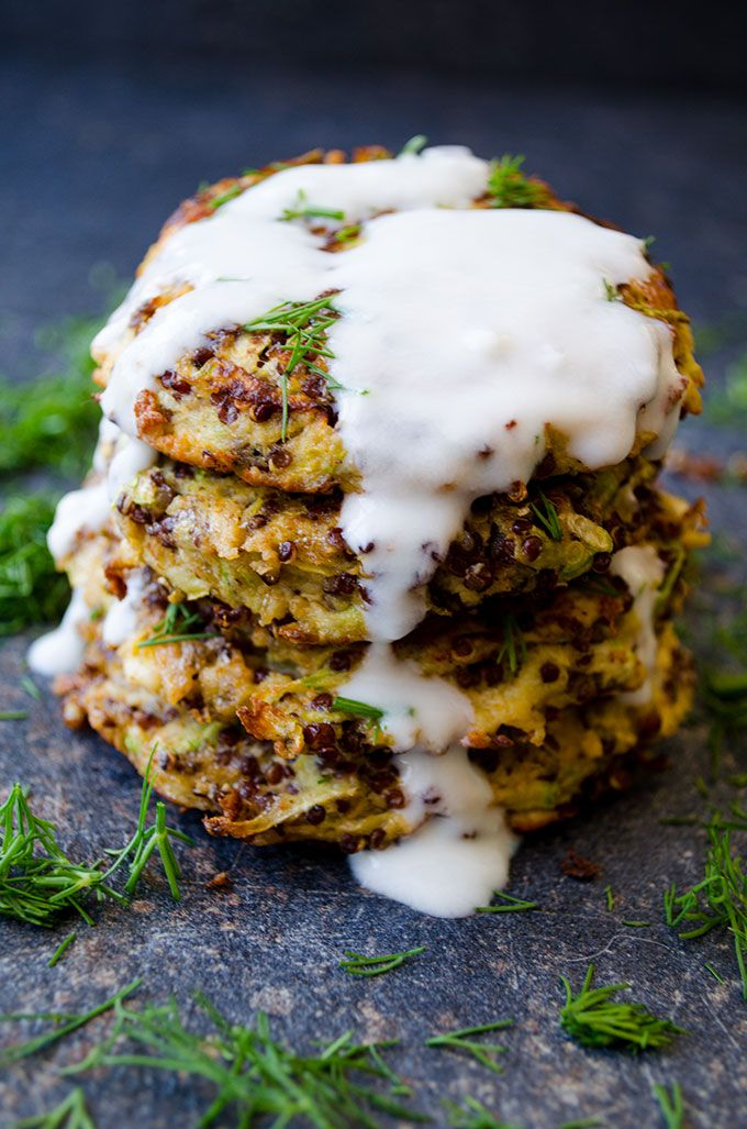 Feta Quinoa Zucchini Fritters are crispy on the outside and moist in the center. These fritters are very light thanks to quinoa. No flour is added! | giverecipe.com | #vegetarian #gluten_free #snacks #appetizers