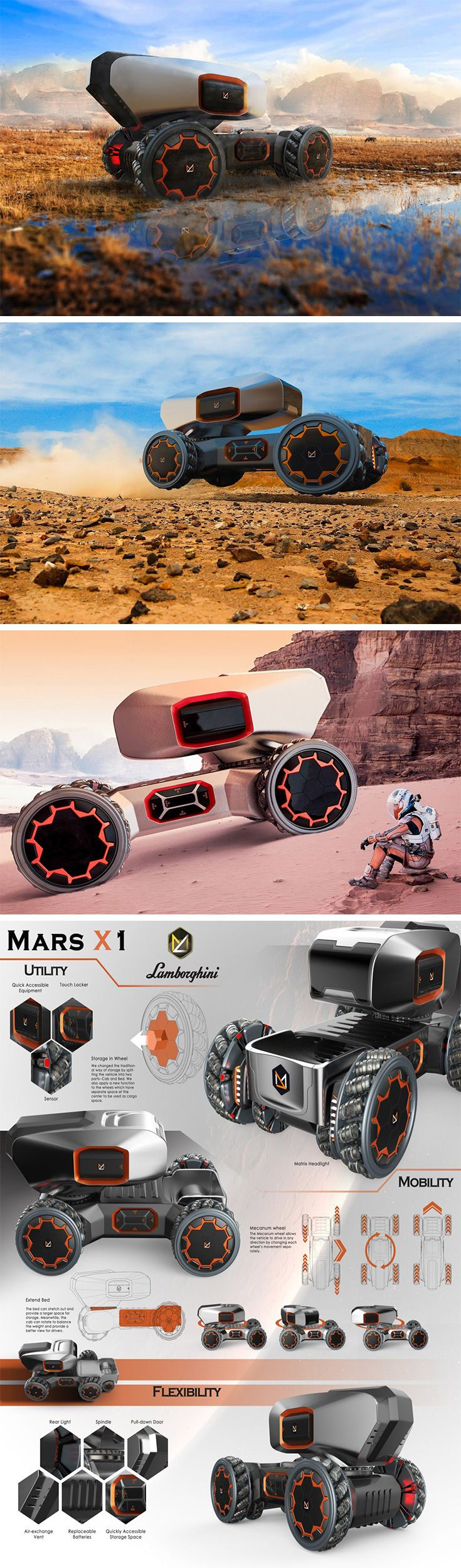 The chances of Lamborghini making a pickup truck are about as good as us colonizing Mars! Just for kicks, the Lambo Mars X1 explores both! Designed for future martian dwellers, this ultramodern pickup truck features all the fixings needed to rover the red planet. Whether it's for collecting soil samples or storing medical supplies, this vehicle is all about storage.