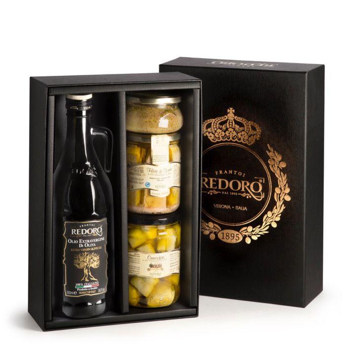 Confezione regalo cuori di carciofo, extra vergine italiano, tonno in EVOO, patè di olive nere