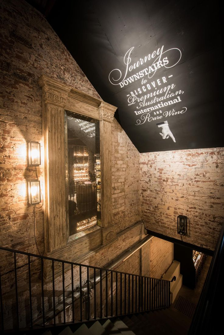 Dan Murphy Cellar Prahran. Glimpse to the premium wine selection in the cellar. Lighting Design by Glowing Structures.