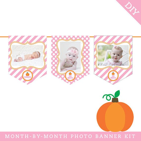 Pink Pumpkin Party DIY printable photo banner kit by Chickabug, $5.00