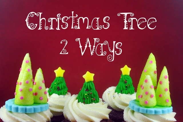 Bake Happy: How to Make a Christmas Tree Cupcake Topper {Two Ways}