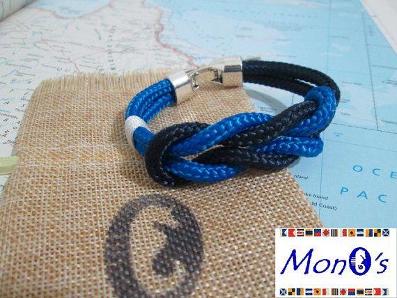 Bracciale con chiusura in Zamak Blu e azzurro - Men's nautical bracelet with zama clasp