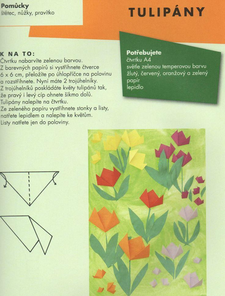 tulipán - skládaná koláž (papír)