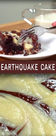 Earthquake Cake Recipe   This gooey, chocolatey cake gets its name because the ingredients shift around during and after baking with the cream cheese mixture sinking into the cake and some of the pecans and coconut rising towards the top. It's unpredictable and delicious! Click for the recipe and short how-to video.: