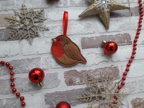 Gingerbread robin , felt gingerbread Christmas tree decoration A