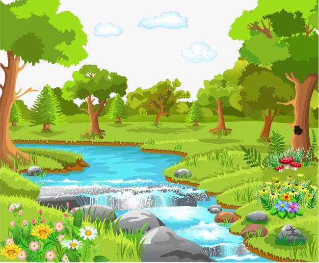 Cartoon Green Nature Png And Vector Foto Alam Pemandangan Pemandangan Anime