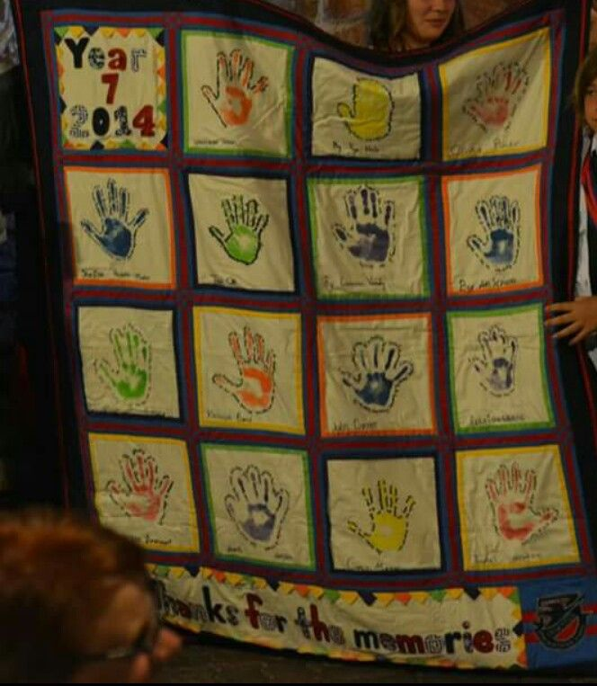I did this for my sons year 7 graduate gift to the school.   Each member of the class did a hand print and wrote their memories of primary school around it.