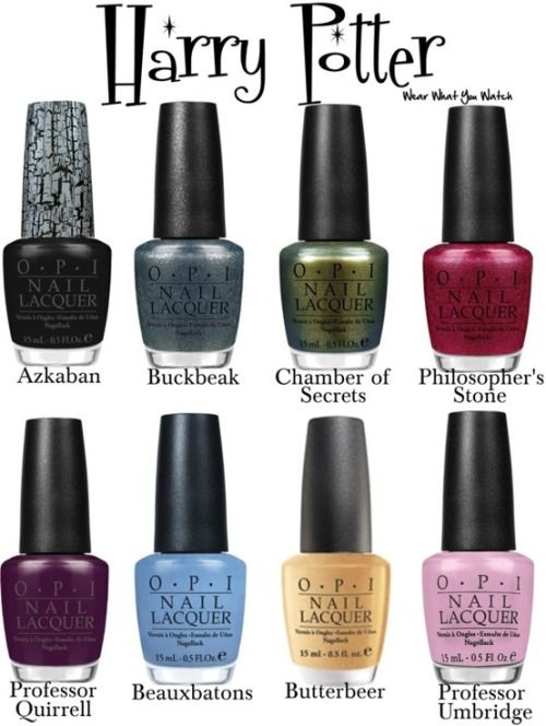 OPI nail polish colours inspired by the Harry Potter film franchise - Product info! **To see my original Harry Potter inspired nail polish colours click here and scroll.  from wearwhatyouwatch.com