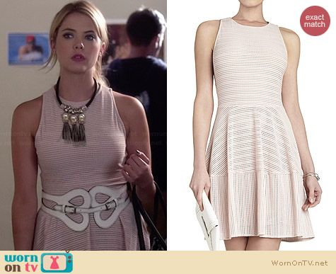 Hanna's pink eyelet dress on Pretty Little Liars.  Outfit Details: http://wornontv.net/34018/ #PLL