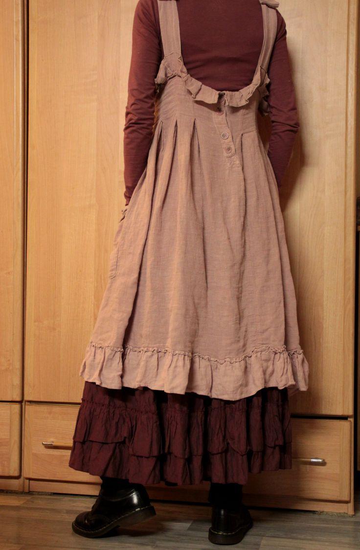 """Ma p'tite robe en lin rose """"Les Ours"""" sur mon jupon Louise..."""