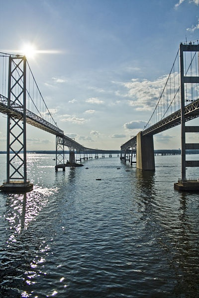 The Chesapeake Bay Bridge, connects the main shore (or as we call it the Western Shore) to the Eastern Shore