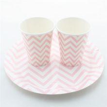 gratis verzending wegwerp chevron gestreepte polka dot drinken papieren bekertjes bruiloft partij gunst decor roze papieren borden(China (Mainland))