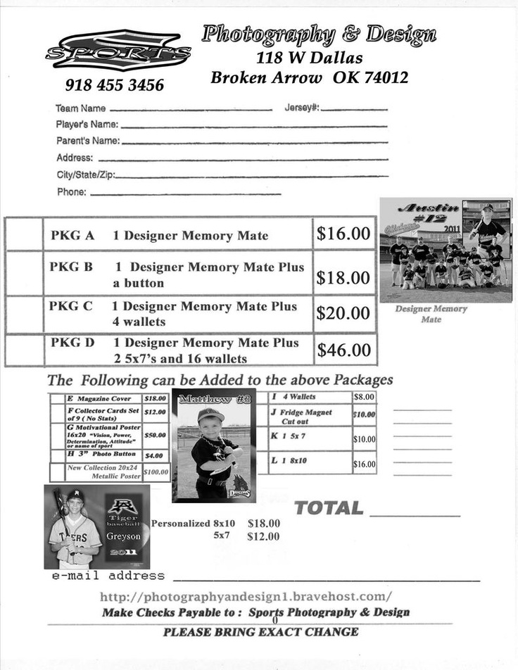 youth sports photography templates - youth sports photography order form sports photography