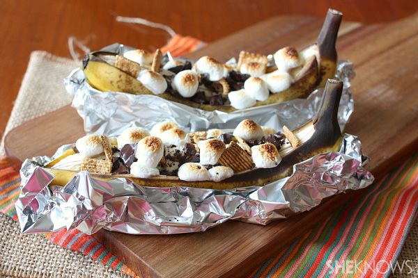 Banana s'mores! We like these best with bananas that are very ripe (aka lots of brown spots). We use peanut butter instead of graham crackers. These can be made on a campfire or a grill. DELICIOUS!