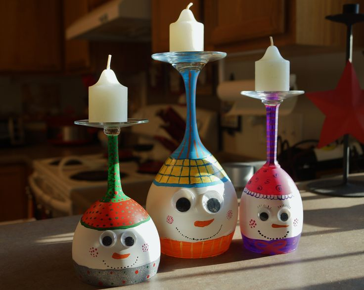 Our Wine Glass Candle Holder Snowmen Craft Ideas