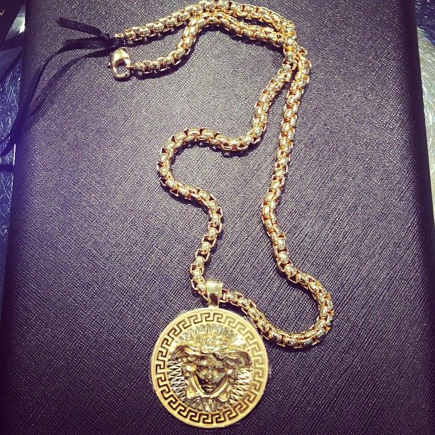 14k Gold Versace Medusa Greek Medallion,Versace online store, post by visualvixen.