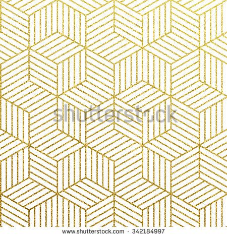Geometric gold glittering seamless pattern on white background.  - stock vector