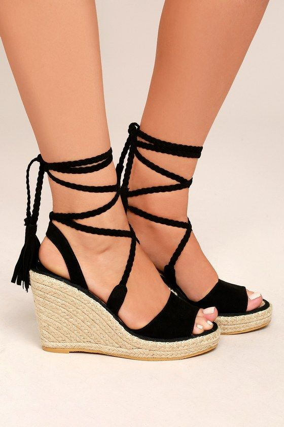 8b377b909e3 Cali Black Suede Lace-Up Espadrille Wedges | Stuff to buy | Lace up ...