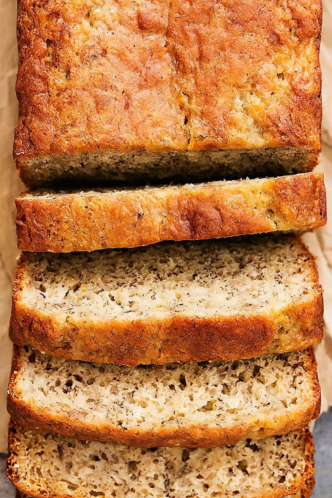 Super moist, healthier Greek Yogurt Banana Bread with absolute perfect flavor! | Creme de la Crumb
