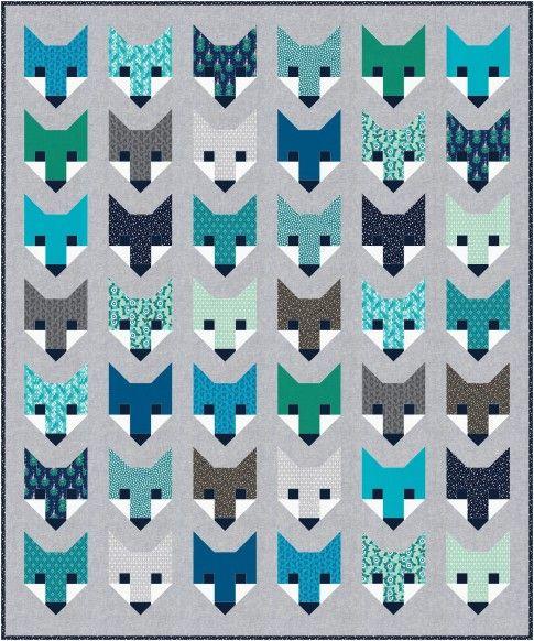 """Fancy Fox"" quilt designed by Elizabeth Hartman. Features Kona Cotton, Essex Yarn Dyed, and Rhoda Ruth by Elizabeth Hartman. Nightfall colorstory."