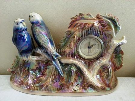 (401) Pair Budgerigars Mantle Clock