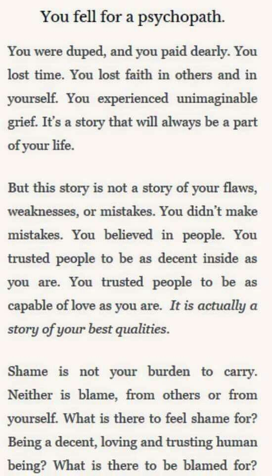 It wasn't your fault- the Narcissist/Psychopath is to blame