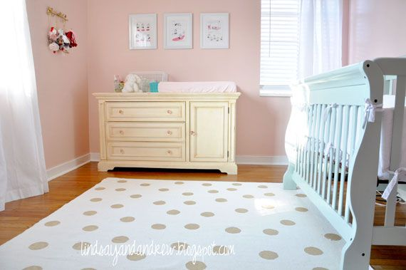 GOLD polka dot rug DIY! Use a plain IKEA Erslev rug, Martha Stewart's Gold Glitter Dust Paint, and a circle stencil from Hobby Lobby.