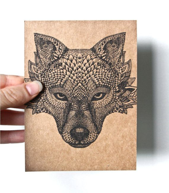 Original Art Postcard, detailed hand drawing of a Wolf head, black on recycled brown paper