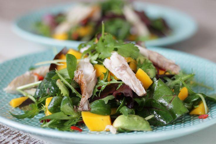 Ik heb een gezonde (en vooral heerlijke) Salade met gerookte makreel, mango en avocado bedacht. Zoet, zuur en pittig in 1 gerecht! Lees verder voor het recept