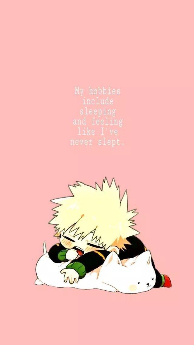 Cute Little Sleepy Baby Bakugou In 2021 Chibi Wallpaper Hero Wallpaper Cute Anime Wallpaper