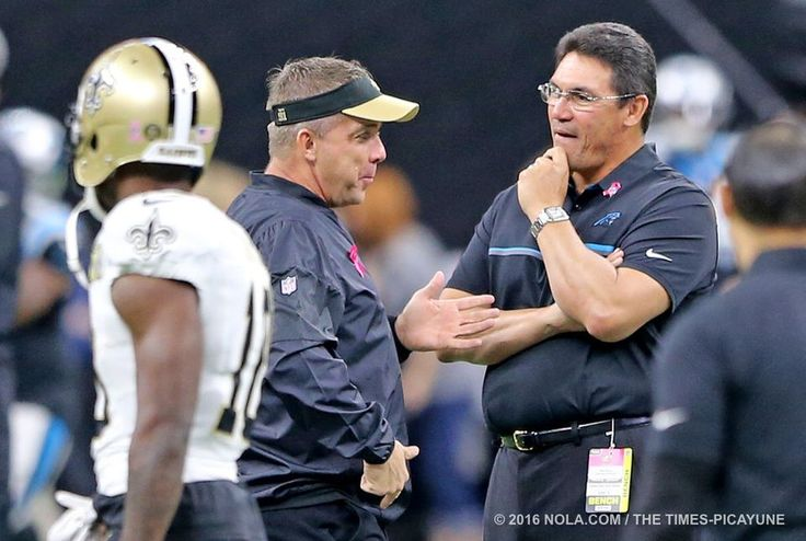 Panthers vs. Saints:      October 16, 2016  -  41-38, Saints  -    New Orleans Saints head coach Sean Payton and Carolina Panthers head coach Ron Rivera talk before for the game between the Carolina Panthers and New Orleans Saints at the Superdome on Sunday, October 16, 2016. (Photo by Michael DeMocker, NOLA.com | The Times-Picayune)