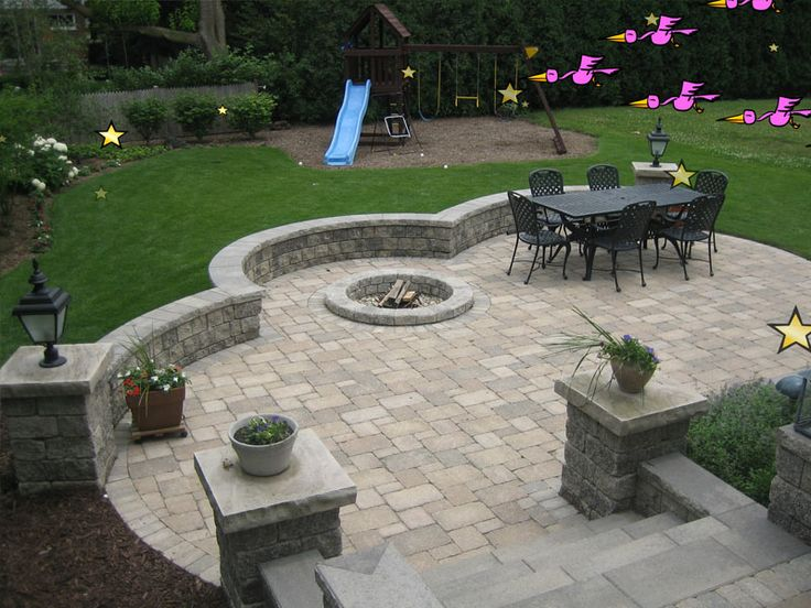 Elegant Brick Patio With Fire Pit | View Source | More Brick Paving Outdoor Grills Patio  Design