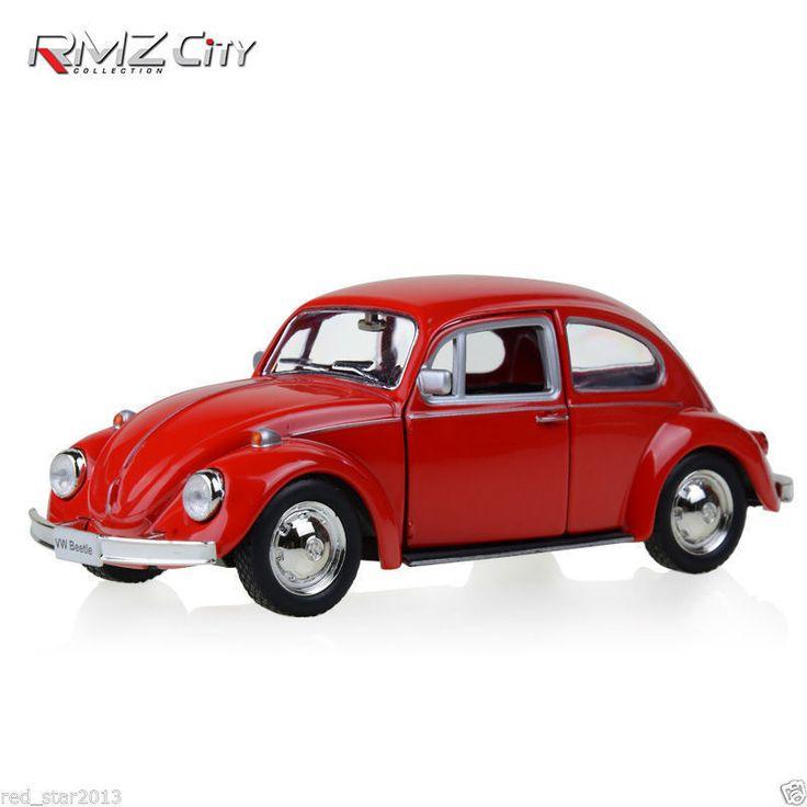 RMZ Kota Diecast Mobil Merah 1/32 Volkswagen Beetle 1967 Klasik Tarik Bakc Koleksi Model Hobi Mainan Anak-anak Hadiah