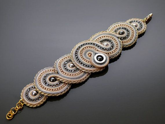 Gray and beige Soutache bracelet with Hematite. от ANBijou на Etsy