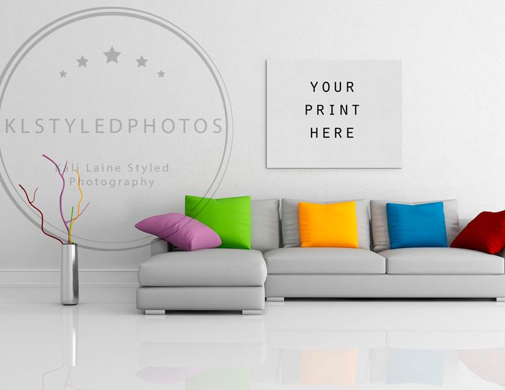 CANVAS MOCKUP Single Canvas Art Display Photoshop Template Empty Room Styled Photography Living WallsLiving
