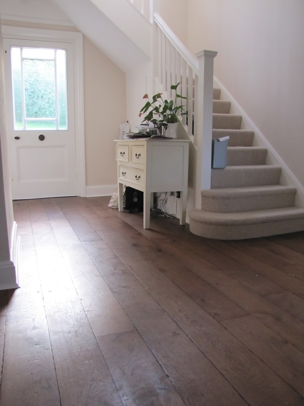 Distressed rustic French oak with old English wax oil for a Victorian House in Farnham, Surrey