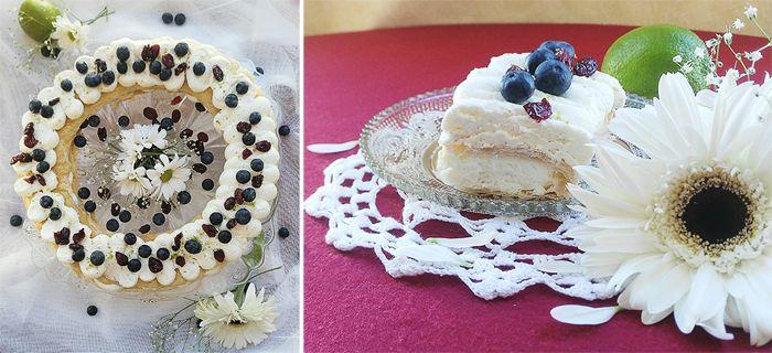 hojaldre con nata de lima y arándanos