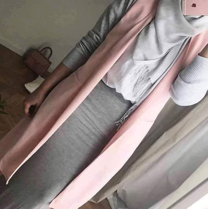 hiijab style gris & rose white