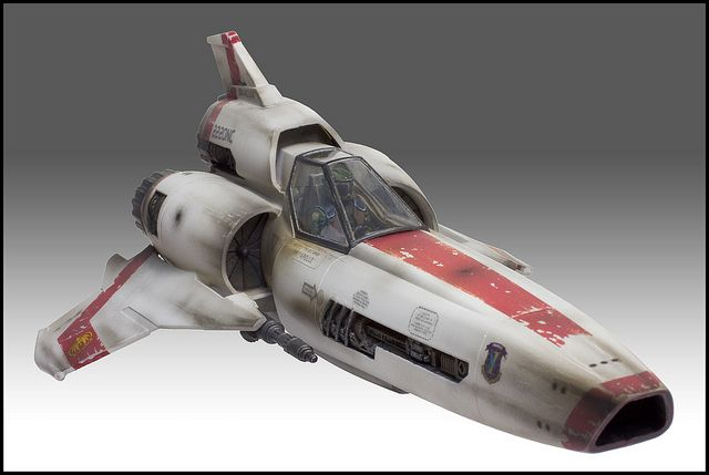 Colonial Viper MkII from the original show. Obviously a riff on the X-wing but one that works.