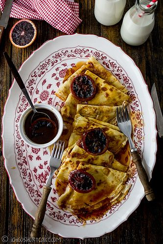 Crepes with blood orange sauce