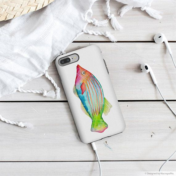 Fish Google pixel case, Colorful mobile case, iPhone X, iPhone 8 Plus, iPhone 6S, Samsung A7 2017, Galaxy S8, Google pixel 2, Rainbow. MS002