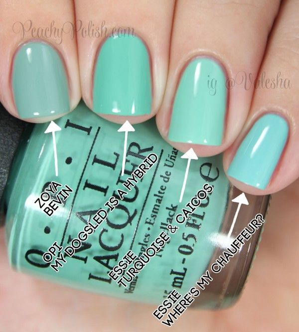 """OPI: Nordic Collection Comparisons Pointer to pinkie; 2 coats of each: Zoya """"Bevin"""", OPI """"My Dogsled Is A Hybrid"""", Essie """"Turquoise & Caicos"""" & Essie """"Where's My Chauffeur?"""""""